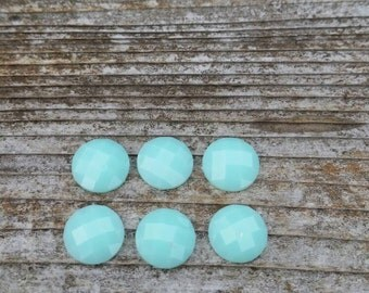 10mm Mint Faceted Resin Cabochon