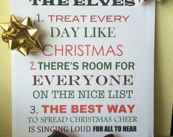 "Elf ""Code of the Elves"" Christmas Sign"