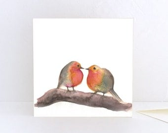 Robins, two birds - Greeting Card