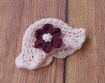 Pink Baby Hat with brim and flower~Sizes Preemie to 12 months~ You choose colors- shower gift, coming home, gender reveal.  Free Shipping