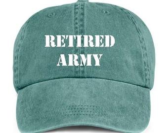 Retired Army Military Retirement Baseball Style Cap Hat
