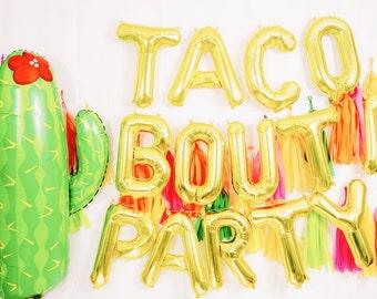TACO letter balloons taco bouta party cactus set