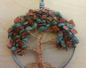 Tree of Life, with Yellow Quartz and Peridot
