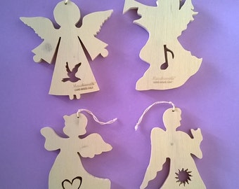 Christmas tree ornaments Christmas ornaments in wood wooden angels (Cod . NAT001 )