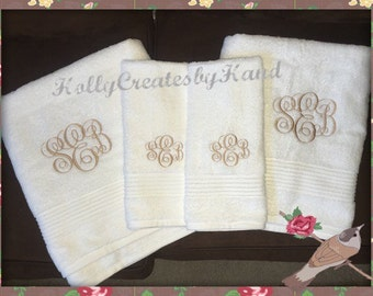 Monogrammed Towel Set Embroidered Bath Towels Monogrammed Bath Towels