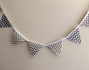Grey Chevron Polka Dot Bunting Party Decor Wedding Baby Shower Gift Flags
