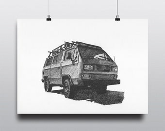 Volkswagen Art, VW Art, Volkswagen Wall Art, VW Wall Art : Volkswagen Vanagon Syncro
