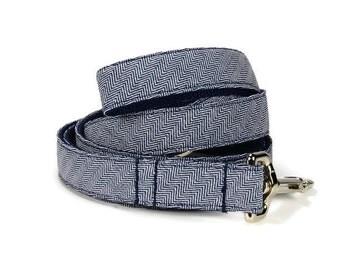 Navy Herringbone Dog Leash, Herringbone Dog Leash, Denim Dog Leash, Preppy Dog Leash, Navy Dog Leash, Dog Lead, Herringbone Leash