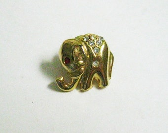 Scatter Pin Gold Elephant Pin Pave Rhinestones Small Lapel Collar Tie Tac Pin Vintage Costume Jewelry Tiny Gold Brooch Pin Gift Men or Women