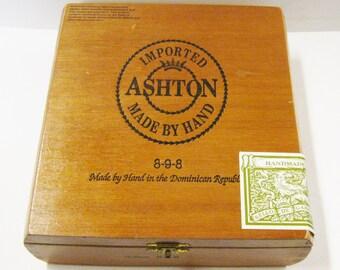 Ashton Corona All Wood Cigar Box Beautiful Cigar Box Purse Handbag Pocketbook Craft Supply Storage Supply Lift Top Cigar Box Tobacianna