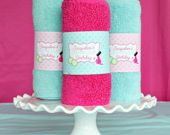 Spa Party Towel Wrapper- Instant Download Printable Towel Wrap for Spa Party by Printable Studio