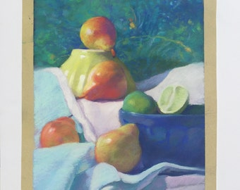 Still Life Original Painting Pears Pastel ArtEqualsJoy