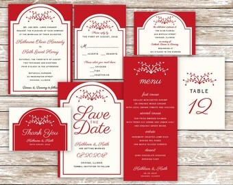 Wedding InvitationSet/Wedding Invitation Printable/DIY Wedding Stationery Set/Wedding Invitation,RSVP Card,Reception Card/Red Weddings/Tree