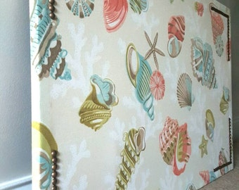 Cream/Beige Designer Fabric Covered Cork Board with Coral, Ocean Blue and Green Shells and French Natural Nailhead Trim