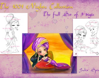 Set of 3 Digital Stamps, 1001 nights, Scheherazade, Genie, East, Fairy tale, Flying carpet, East girls. The  1001 Nights Collection.