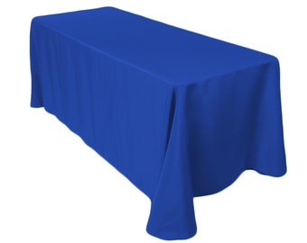 90 x 132 inch Rectangular Royal Blue Tablecloth Polyester | Wedding Tablecloth