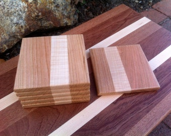 Cutting board style square wood coasters Cherry and Maple