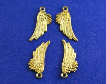 4pcs-Angel Bird Wing Charm, 18x10mm Double Sided Wing Pendant, Gold Plate Wing, Feather Charm