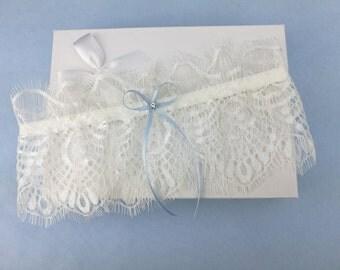 Ivory eyelash lace garter, wedding garter, lace garter, rhinestone garter, something blue garter
