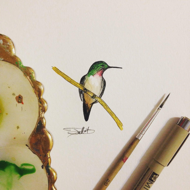 Tiny Hummingbird Print Wall Art Decor