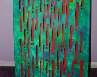 Stacked Canvas Abstract Optical Painting