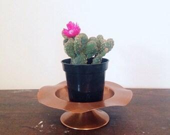 Copper Pedestal Display Dish