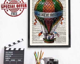Hot Air Balloon Wall Art, Not All Who Wander Are Lost, Steampunk Hot Air Balloon, Steampunk Decor, Victorian Art, Dictionary Art Print, 225