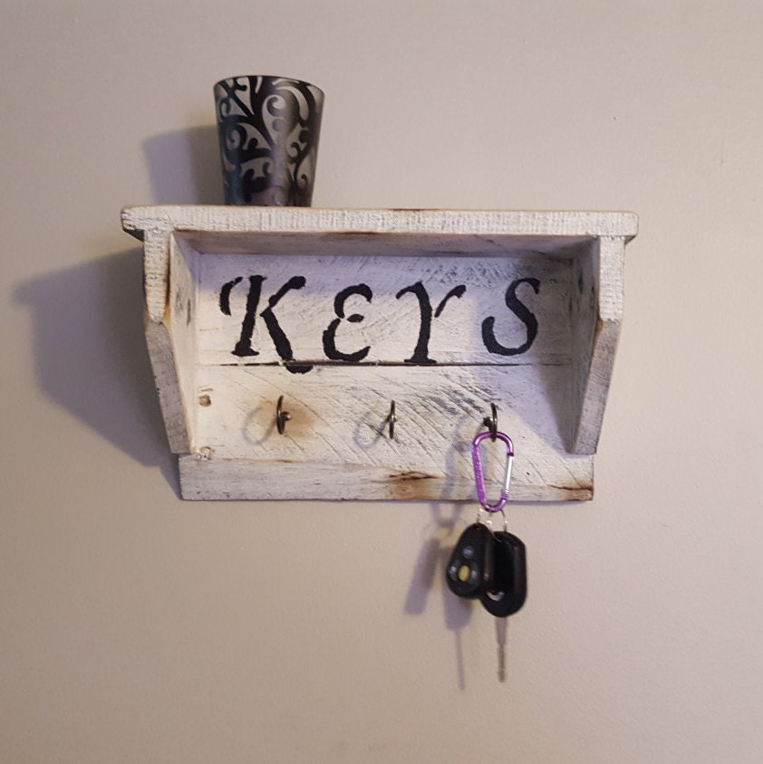 Key Rack Wall Shelf Pallet Wood Shelf Key Holder By