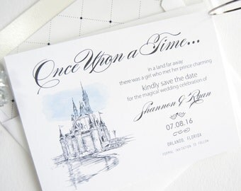 Disney World Save the Dates, Save the Date, Fairytale Wedding, Cinderella's Castle, Orlando Wedding Save the Date Cards (set of 25 cards)