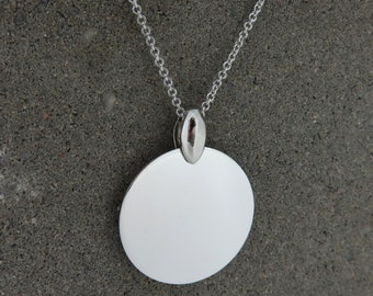 Personalised Silver Disc Pendant Necklace - Free Engraving