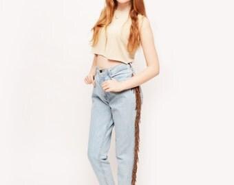 Vintage Santana High Waisted Suede Fringe Jeans Waist 26