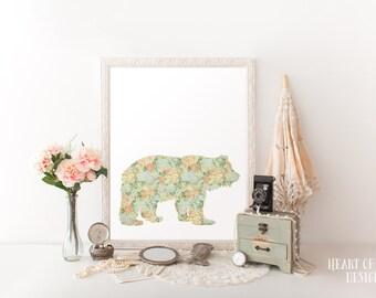 Printable art, Bear art print, Girl woodland nursery decor, Flower nursery wall art, Shabby chic nursery wall decor art, Animal silhouette