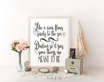 Printable art Master bedroom decor Black and white wall art Wedding quote print I can't help falling in love with you WHEART OF LIFE Design