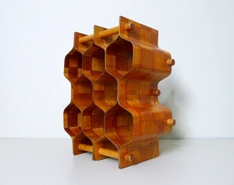 Vintage Torsten Johansson 8 Bottle Bentwood Honeycomb Wine Rack, Swedish, Sweden, Mid Century Modern
