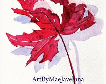 "Little Red Maple Leaf, Original Watercolor Illustration, 4""X6"""
