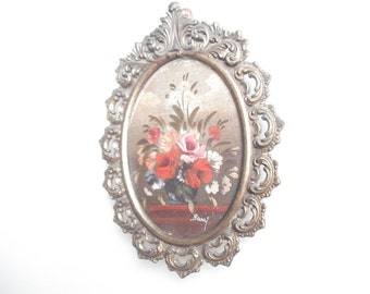 mini floral oil painting vintage frame