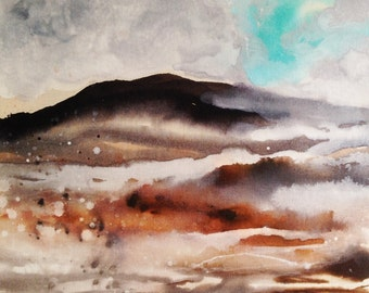 Mountain snow original painting abstract landscape ink and pigments on canvas