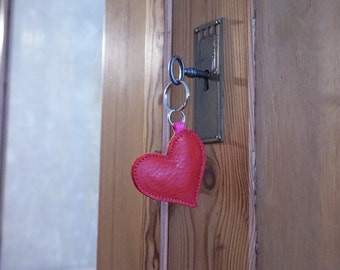 Red leather Heart: Natural Leather key ring