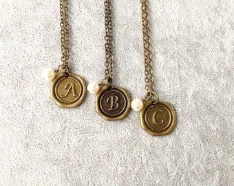Wax Seal jewelry,bridesmaid monogram,bridesmaid gift necklace,Wax Seal Necklace,monogram necklace