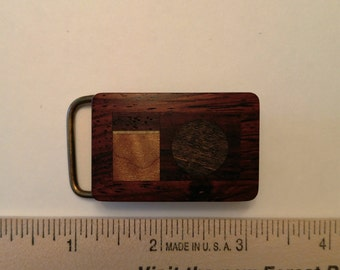 Small Wood and Brass Belt Buckle