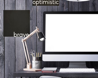 "Inspiring Wall Art/ Inspirational Quotes Wall Decals ""Brave Optimistic""/ Inspiring quotes"