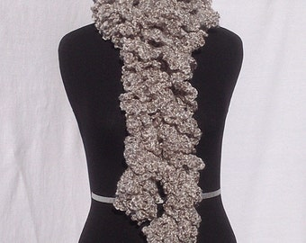 Curly Boa Scarf in Grey and White