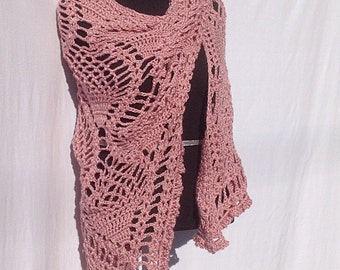 Pineapple Shawl in Dusty Rose