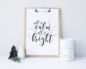 All is Calm, All is Bright, Christmas printable decor, Black and Gold Holiday Typography Decor, Modern Holiday Decor - Instant Download