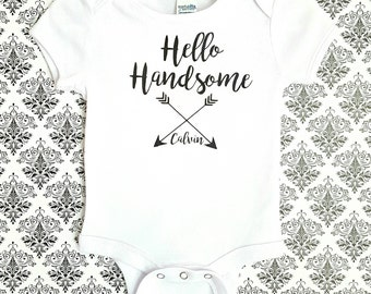 Baby Boy Personalized Outfit- Coming Home Outfit- Personalized Baby Boy Gift- Personalized Boy Outfit- Newborn Boy- Babyshower Gift