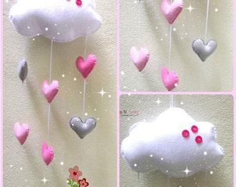 Baby mobile - Nursery mobile - crib mobile - cot mobile - baby mobiles - Nursery decor - Cloud mobile -baby girl mobile -felt mobile