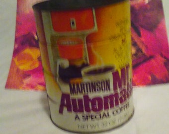 """Vintage MARTINSON """"Mr Automatic'' 2 pound Coffee Tin Can, Advertising, Coffee Can, Collectible Can, Upcycler"""