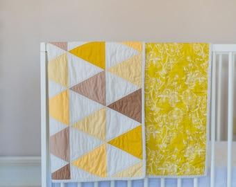 Modern Triangle Quilt - Gender Neutral - Mustard - Yellow - Tan - Brown - Crib Quilt - Toddler Quilt
