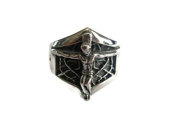 On Sale Jesus Christ Ring - Jesus of Nazareth Crucifix Cross Jewellery Jewelry Gifts Fashion Handmade US 8, 10, 11, 12,13 UK Q, T, V, Y, Z
