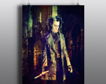 Sweeney Todd - The Demon Barber of Fleet Street, Mixed Media Art Print, Watercolor Print, Poster No144